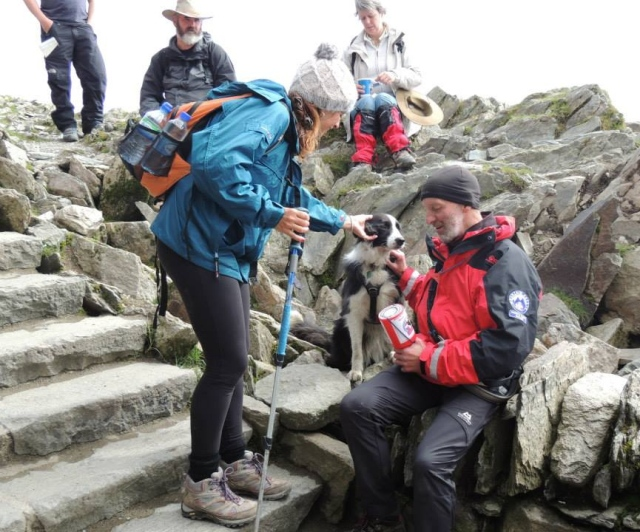 Fundraising – the author and 'Mist' on the summit of Yr Wyddfa (Snowdon) (MR)