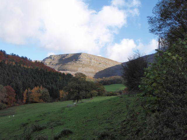 The limestone cliffs of Eglwyseg Mountain