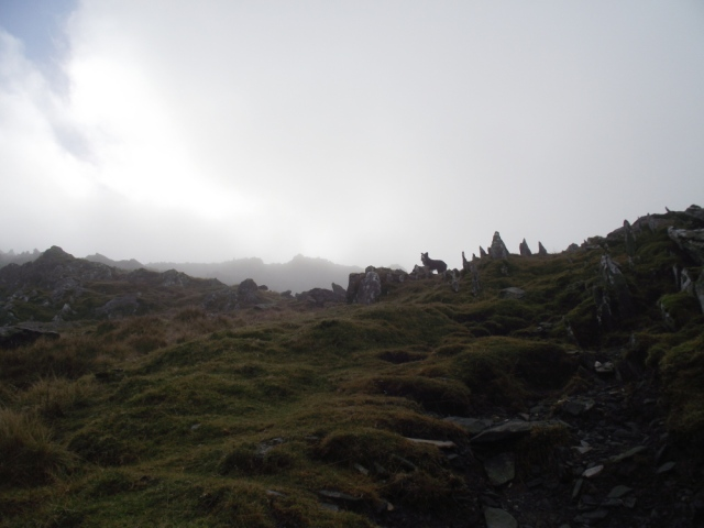 The end of the ridge, leading to easy ground