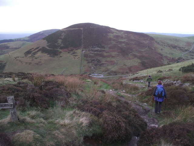 Starting the descent to the foot of Moel Arthur