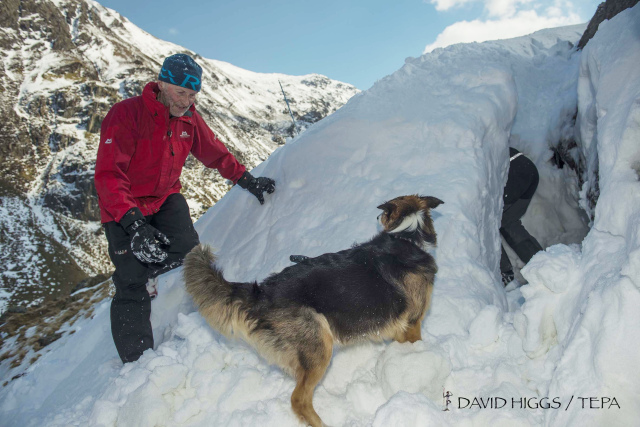 Digging snow holes to practice searching for buried victims (DH)
