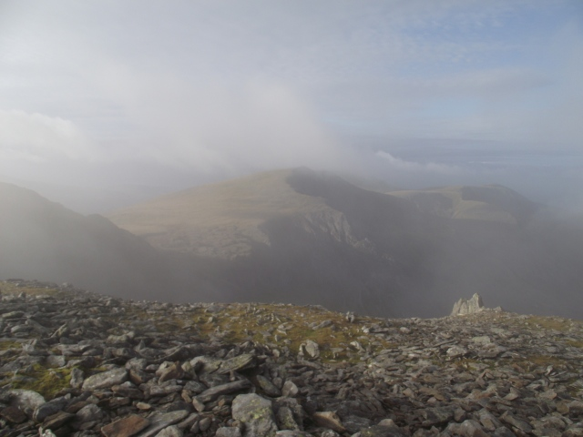 Y Garn in the mist ….