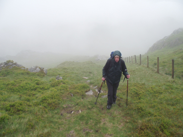 Chris 'enjoying' a wet day near Aran Fawddwy
