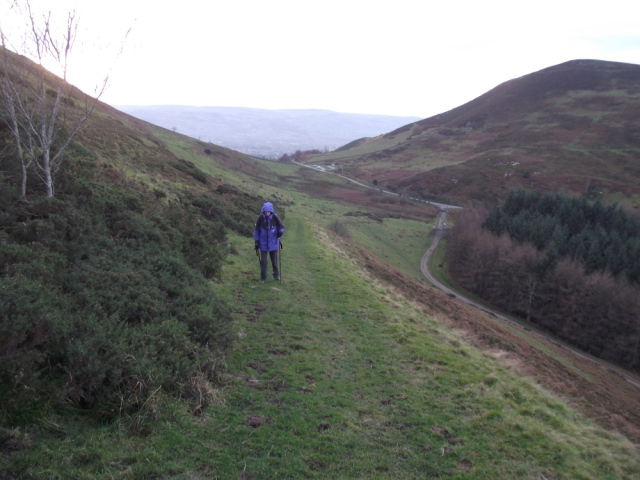 Looking back to the Moel Arthur car park