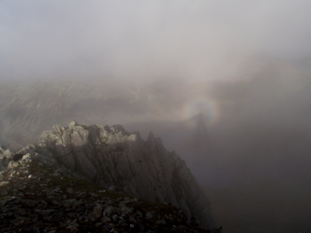 'Brocken spectre' at the top of Y Gribin
