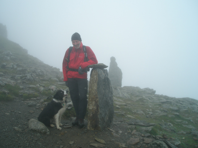 The author and 'Mist', both enjoying a misty day on Yr Wyddfa