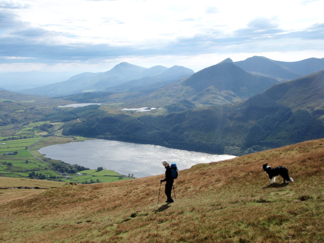 Descending from Moel Eilio with Moel Hebog and the Nantlle Ridge in the background