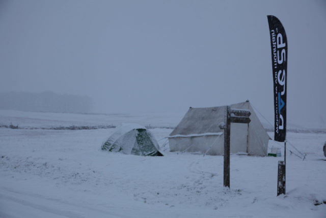 Snowy checkpoint on the Spine Race at Malham Tarn in the Yorkshire Dales (JB)