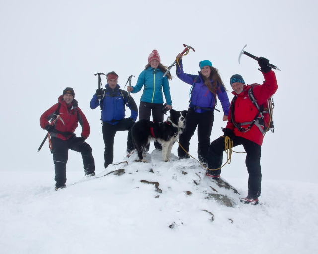 Members of the Spine Support Team near the summit of Helvellyn
