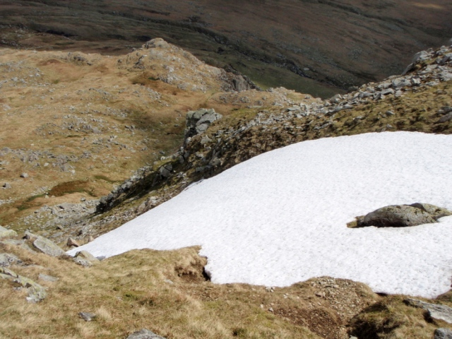 The top of the second gully, with the last remnants of the winter snow