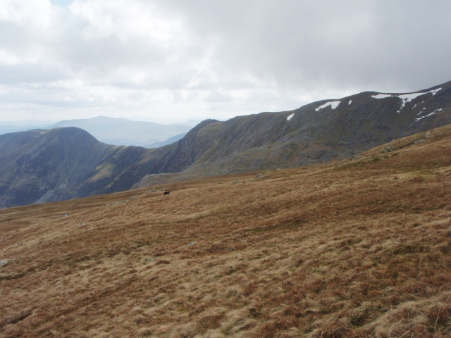 Looking back towards Craig yr Ysfa- the snow patch on the left is the crash site