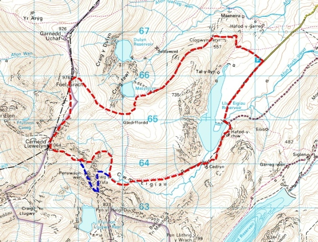 My route (with the original Bwlch Eryl Farchog option shown in blue)