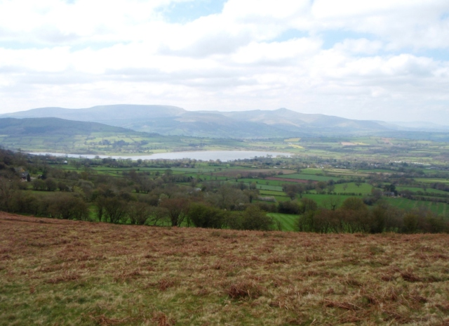 Llangorse Lake with the Brecon Beacons beyond