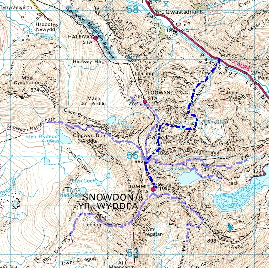Cwm Glas route (in blue) and the other popular routes up Yr Wyddfa (Snowdon)