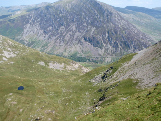 Looking down into Cwm Cywion where the remainder of the wreckage fell