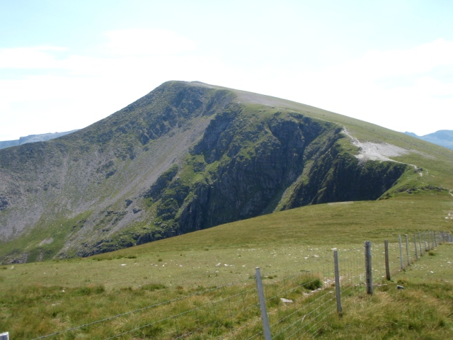 Y Garn from the north – the stony area above the cliff (right of centre) is the upper wreckage site