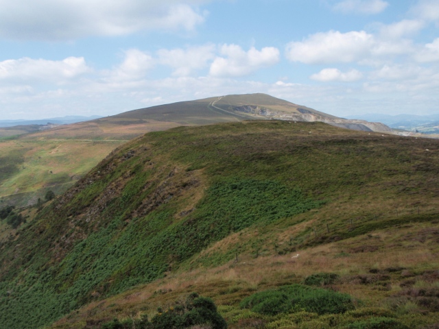 The view west across the Horseshoe Pass to Moel y Faen
