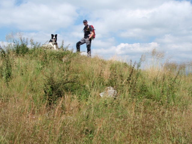 'Mist' and the author on the remains of Sir Watkin's Tower