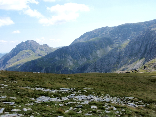 Looking back to Tryfan (left) and Bristly Ridge (centre skyline) on Glyder Fach