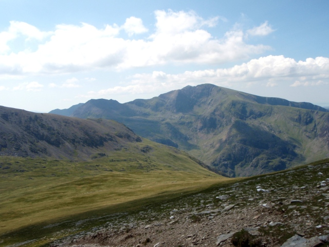 View of Crib Goch (left skyline) and Cwm Glas (just below centre skyline)