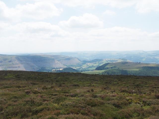 Looking southeast towards the limestone escarpments of Eglwyseg Mountain