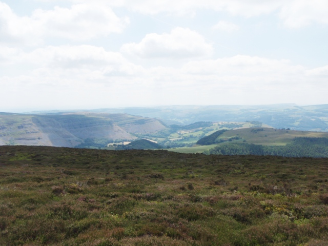 Looking southeast towards the limestone escarpments of Eglwyseg Mountain