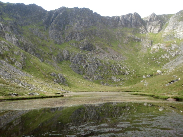 Cwm Caseg, possibly the most remote cwm in Wales, with the small lake of Ffynnon Caseg
