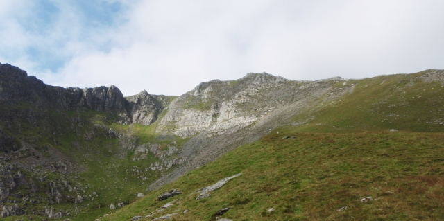 Looking up to the summit of Yr Elen, with the Northeast Ridge on the right skyline