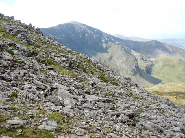 The crash site, just below Bwlch Cyfryw Drum, with Carnedd Dafydd behind