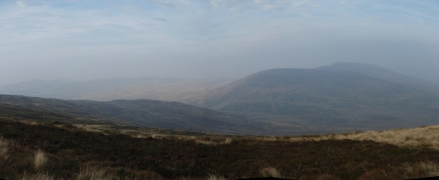 Last hills of the day in the distance – Foel Lwyd (right of centre) and Tal y Fan (far right)