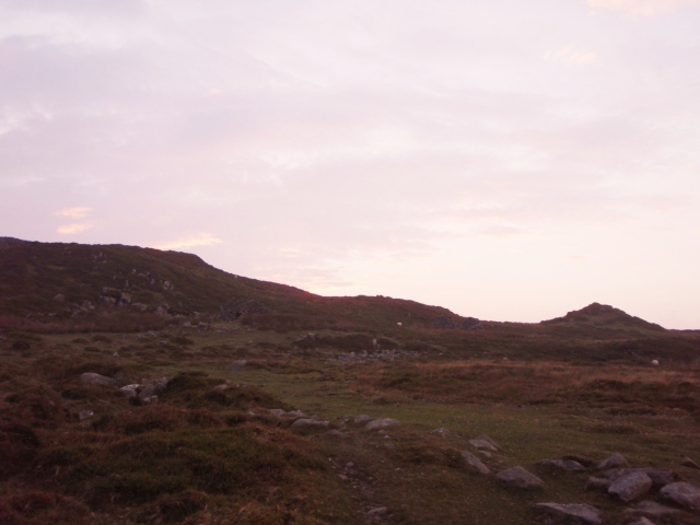 Near Maen Penddu, and night drawing in.