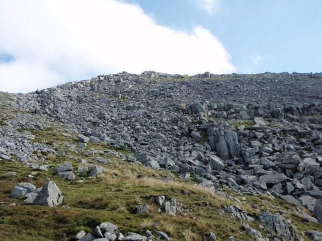 Looking uphill to the impact site, roughly in the centre of the photo