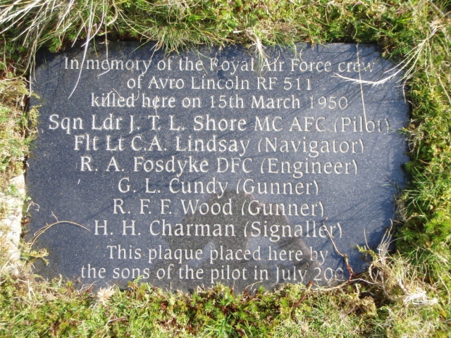 Memorial plaque to the crew members killed in the crash
