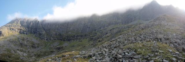 The cliffs of Ysgolion Duon (The 'Black Ladders') on Carnedd Dafydd