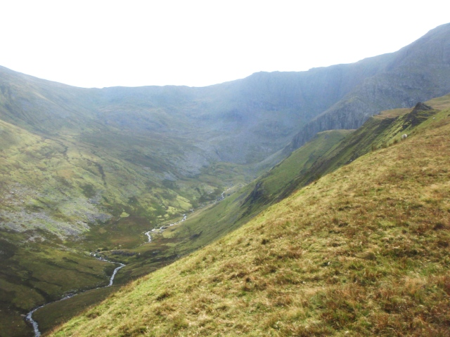 Looking down the steep slopes to the river below (Afon Llafar) ….
