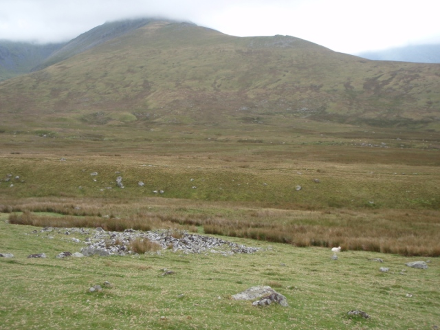 Remains of the ancient settlement, with Yr Elen beyond