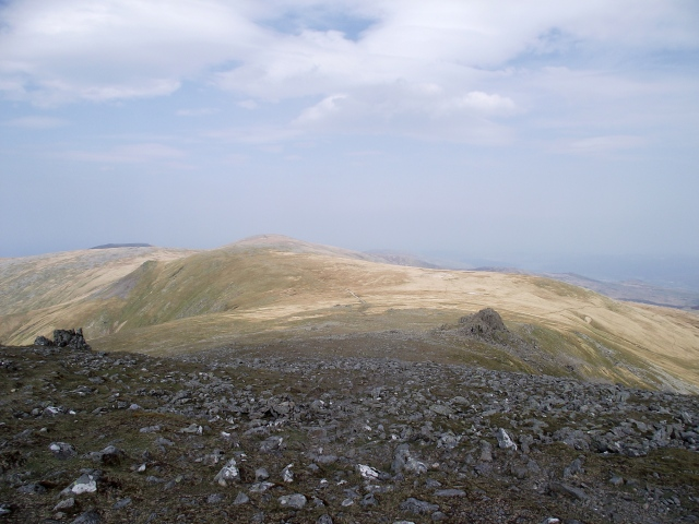 Leaving the summit of Carnedd Llewelyn with Foel Grach ahead