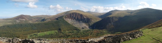 Aber Falls (just visible right of centre in the shadow) and the mountains of the Northern Carneddau
