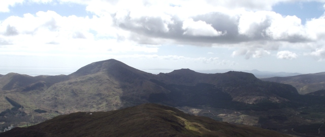 Moel Hebog (left), Moel yr Ogof (centre) and Moel Lefn (right)