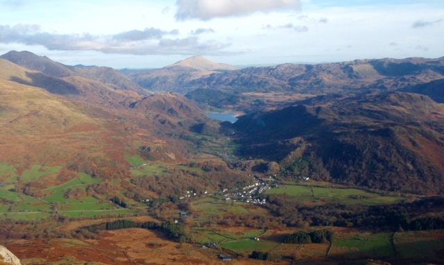 Looking down to the start at Beddgelert, with Moel Siabod in the distance