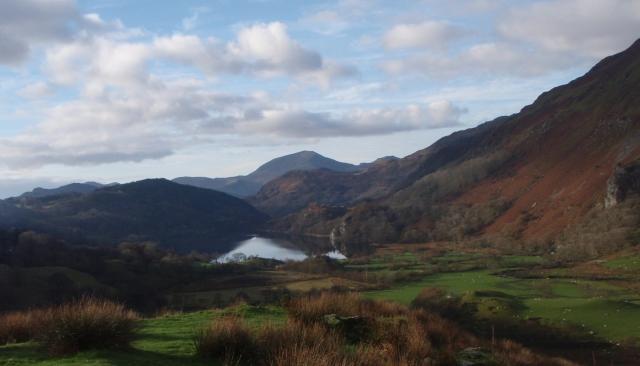 First view of Moel Hebog (centre) beyond Llyn Gwynant