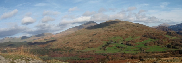 The view across to Yr Wyddfa (Snowdon) just right of centre