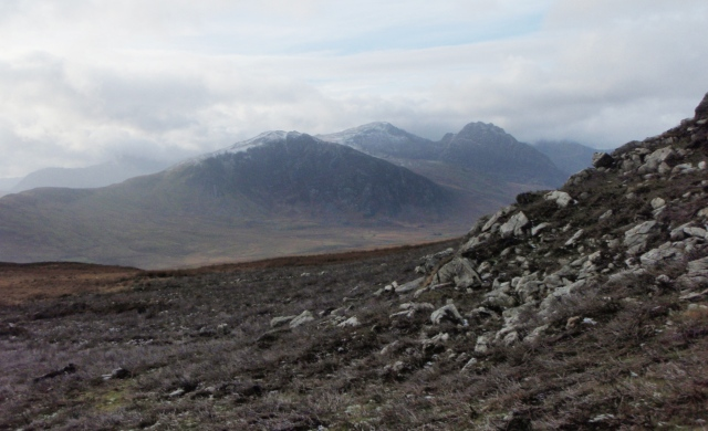The mountains of the Glyderau, with Tryfan now more obvious