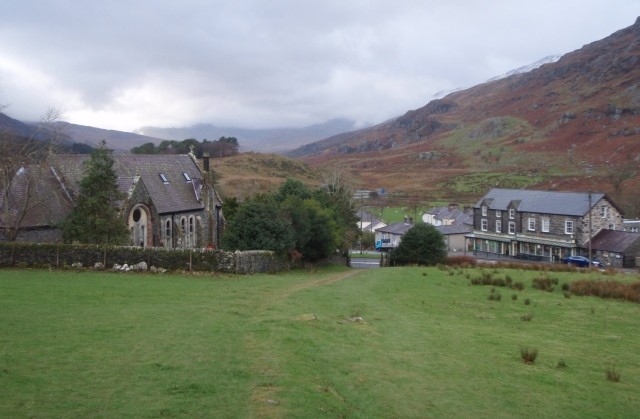 Looking back to Capel Curig, just after setting off