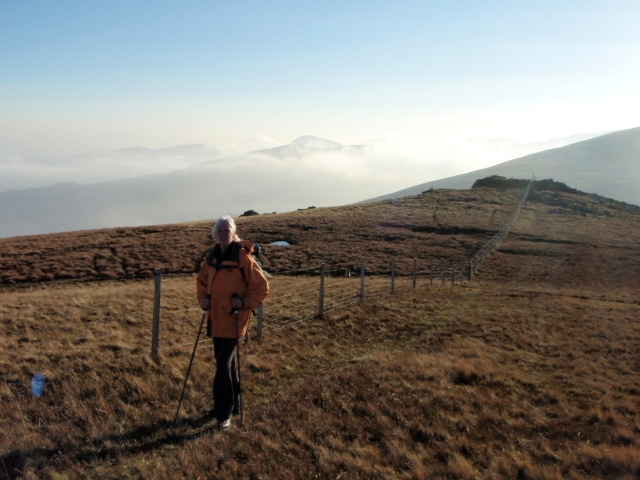 At last – on the ridge between Foel Fras and Drum