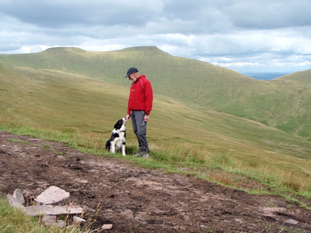 'One man and his dog' – Pen y Fan (centre) and Corn Du (left)