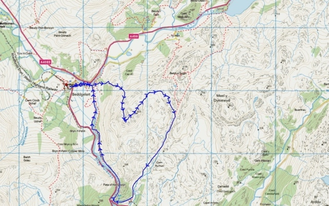 The route, starting from Beddgelert
