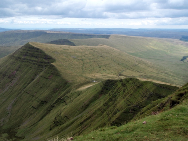 Start of the descent from Pen y Fan with Cribyn ahead