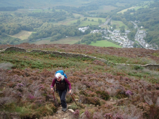 Still fairly steep! Beddgelert down below in the valley