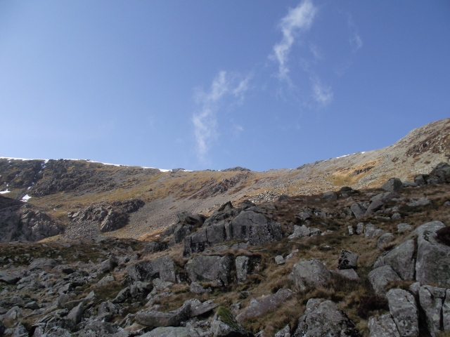 Impact point of the Ventura, in the centre below the ridge